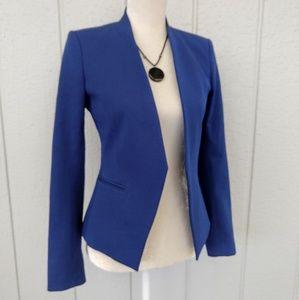 Theory Cotton Open Front Cropped Blue Lanai Blazer